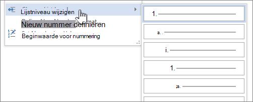 Het lijstniveau in een lijst met opsommingstekens of genummerde lijsten wijzigen