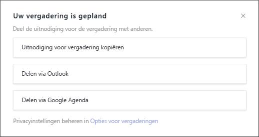 Het scherm voor de geplande vergadering