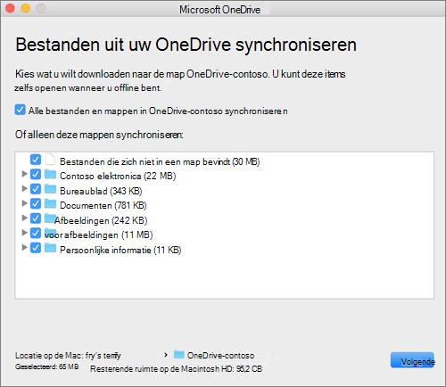 Schermafbeelding van het menu voor het instellen van OneDrive voor het selecteren van de bestanden of mappen die u wilt synchroniseren.