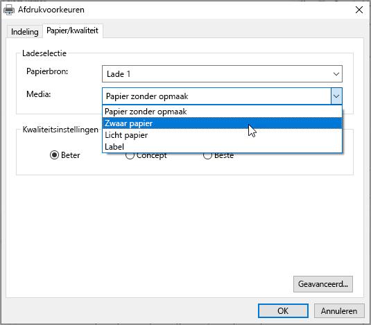 Dialoogvenstervoorkeuren voor afdrukken in Windows-systeem