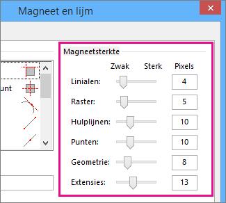 Schuifregelaars voor magneetsterkte in Magneet en lijm in Visio 2016