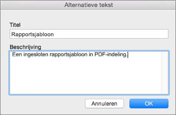 Alternatieve tekst toevoegen aan ingesloten bestanden in OneNote voor Mac