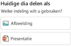 De opties Opmaak voor het delen van een dia in PowerPoint voor Android