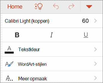 Menu Lettertype in PowerPoint voor iOS.
