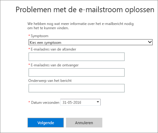Schermafbeelding van het invoergebied van de probleemoplosser voor de e-mailstroom. Beheerders moeten eerst een symptoom kiezen en het e-mailadres van een afzender en ontvanger toevoegen voordat ze Volgende kunnen kiezen om de probleemoplosser te starten.