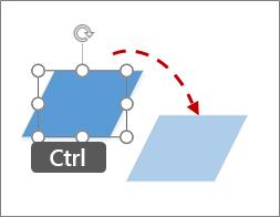Een shape kopiëren door middel van Ctrl+klikken