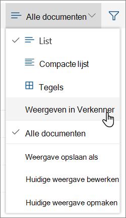 Menu Alle documenten met Openen in Verkenner gemarkeerd