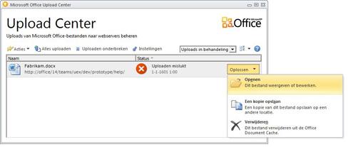 het menu oplossen van het upload center