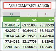 De functie RANDARRAY met argumenten voor minimum, maximum en decimalen