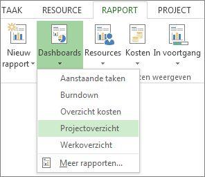 menu dashboard op het tabblad rapporten