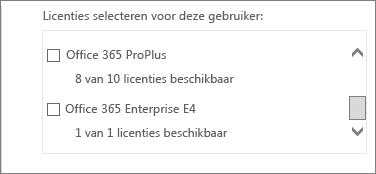 De sectie Licenties selecteren voor deze gebruiker bevat een overzicht van de licenties als u meer dan één abonnement hebt.