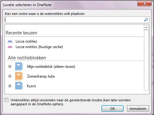 Het dialoogvenster Locatie selecteren in OneNote