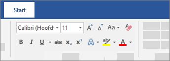 Opties voor tekstopmaak in het Word-lint