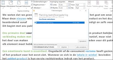 Dialoogvenster Herinnering, weergegeven in het venster van een Word-document