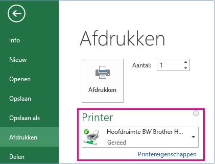 Kies in de vervolgkeuzelijst Printer de printer die u wilt gebruiken.