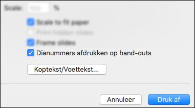 Het Dialoogvenster Afdrukken met dia-nummers op de hand-outs aangevinkt.