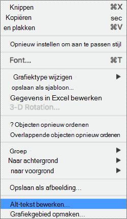 Context menu voor grafieken waarin de optie alternatieve tekst is geselecteerd.