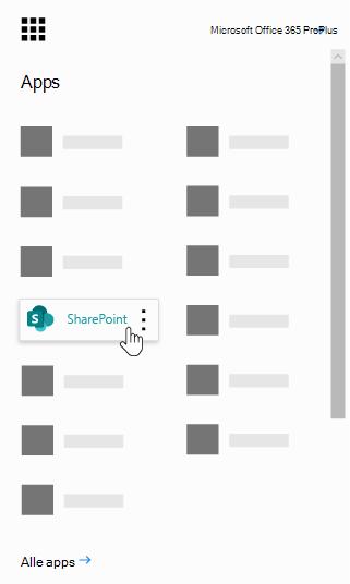 Het start programma voor de Office 365-app met de share point-app gemarkeerd