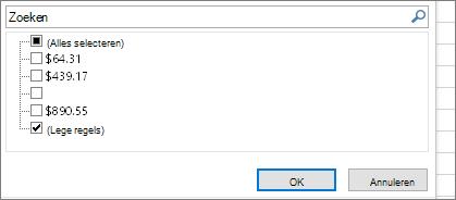 Filtermenu met het selectievakje Alles selecteren niet geselecteerd en selectievakje (Leeg) geselecteerd