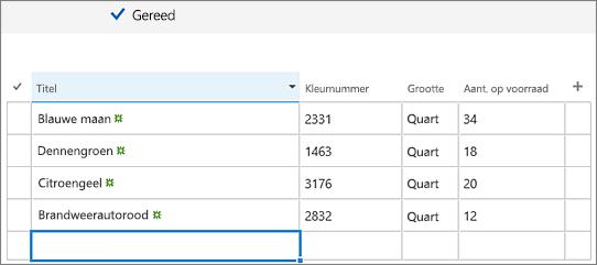 Scherm Snel bewerken met toegevoegde kolommen en gegevens