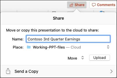 Dialoogvenster waarin u de presentatie kunt uploaden naar uw Microsoft-cloudopslag voor naadloos delen.
