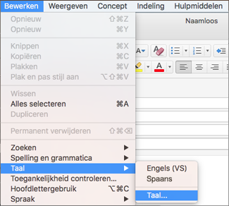 Bewerken > menu Taal in Outlook 2016 voor Mac