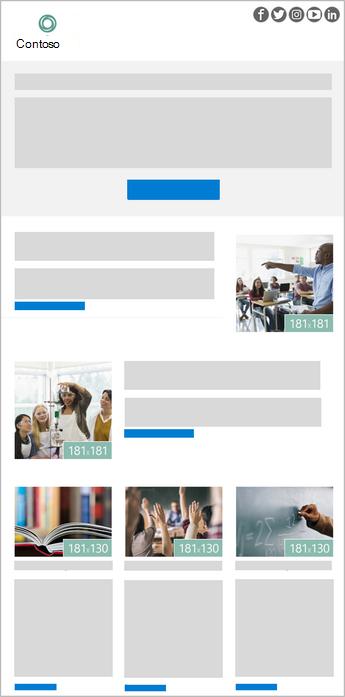 Afbeelding van een sjabloon voor een Outlook-nieuwsbrief met 5 afbeeldingen
