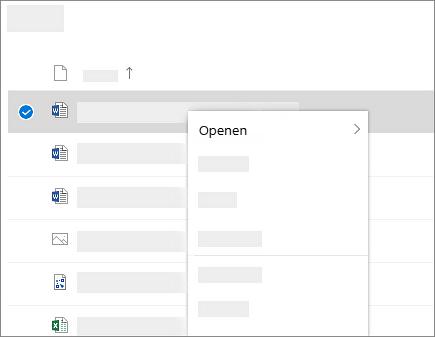 Schermafbeelding van het snelmenu voor een geselecteerd bestand