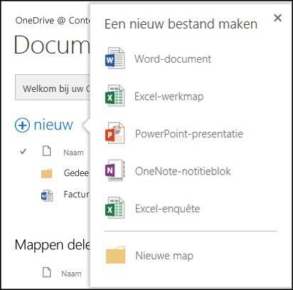 Opties van Office Online die u kunt gebruiken via de knop Nieuw in OneDrive voor Bedrijven