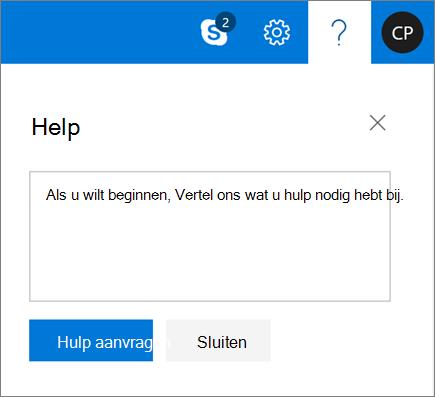 Een schermafbeelding geeft het dialoogvenster Help weer, waar u informatie kunt invoeren over een probleem en vervolgens de knop Help opvragen kunt selecteren.