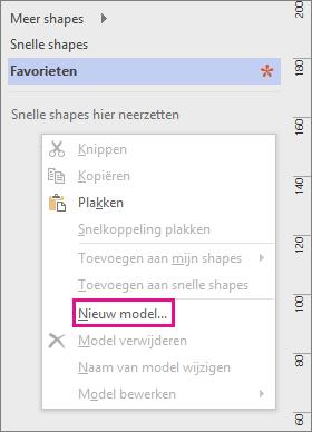 Klik met de rechtermuisknop in het venster Shapes, onder de lijst met stencils, en klik vervolgens op Nieuw model.
