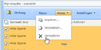 Nadat u op de knop Acties hebt geklikt, klikt u op Verwijderen om geselecteerde gegevens te verwijderen
