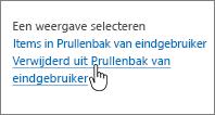 Prullenbak van SharePoint 2013 met Verwijderd uit prullenbak van gebruiker gemarkeerd