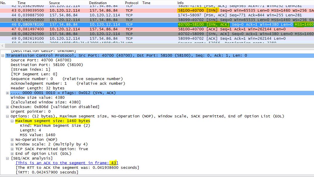 Spoor gefilterd in Wireshark door tcp.options.mss voor maximale segmentgrootte (MSS).