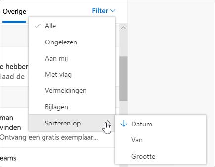 E-mail filteren in de webversie van Outlook