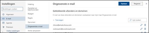 Een schermafbeelding toont het venster voor ongewenste e-mail in het gedeelte E-mail van Instellingen.