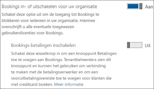 Schermopname: Het beheerbesturingselement van Bookings vanaf de pagina Services en invoegtoepassingen