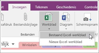 Schermafbeelding van de knop Werkblad invoegen in OneNote 2016.