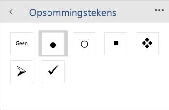 Schermafbeelding van het menu Opsommingstekens voor het kiezen van de stijl voor opsommingstekens in Word Mobile.