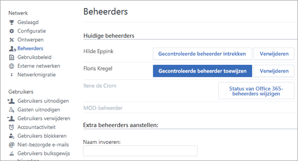Schermafbeelding van de lijst met beheerders