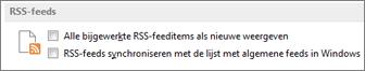 het gedeelte RSS-feeds in het dialoogvenster Opties
