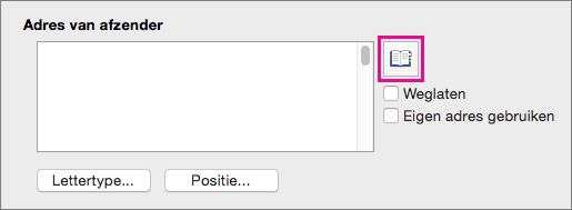 Schakel Mijn adres gebruiken uit en klik op Adres invoegen om het adres van een afzender in uw contactpersonen te selecteren.