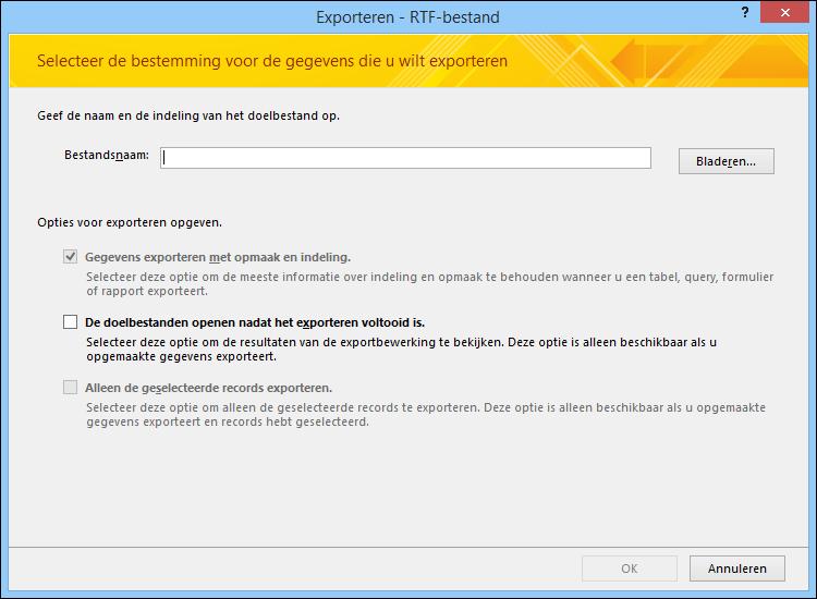 Selecteer een doel en exportopties in het dialoogvenster Exporteren - RTF-bestand.