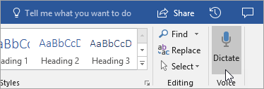 De knop Dicteren in Word