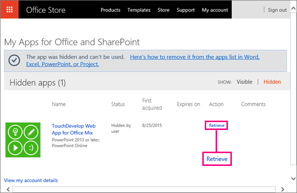 Hiermee wordt de koppeling Ophalen op de site Apps voor Office en SharePoint weergegeven