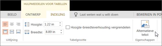 Schermafbeelding van het tabblad Indeling van Hulpmiddelen voor tabellen, waarbij de cursor de optie Alternatieve tekst aanwijst.