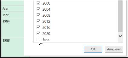Power Query - Queryeditor > filter voor opschonen van gegevens