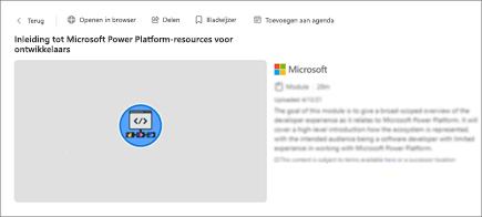 Schermafbeelding van inhoudsdetails als titel, duur en beschrijving