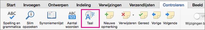 Klik op het tabblad Controleren op Taal om de taal van de geselecteerde tekst in te stellen.