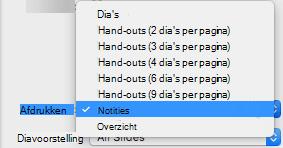 Selecteer in het vak afdrukken notities